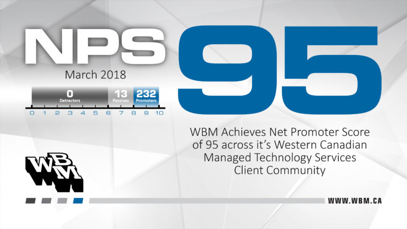 WBM Achieves Net Promoter Score of 95 across its Western Canadian Managed Technology Services Client Community