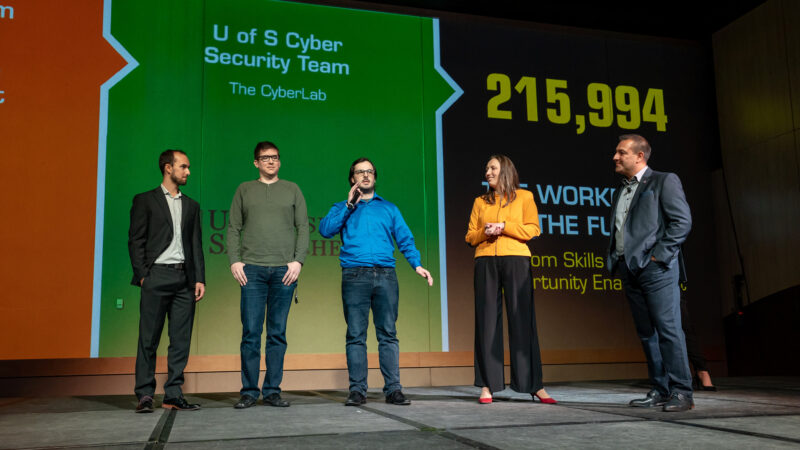 Brett and the University of Saskatchewan Cyber Security Team discussing enterprise IT solutions on the Connection 2020 main stage